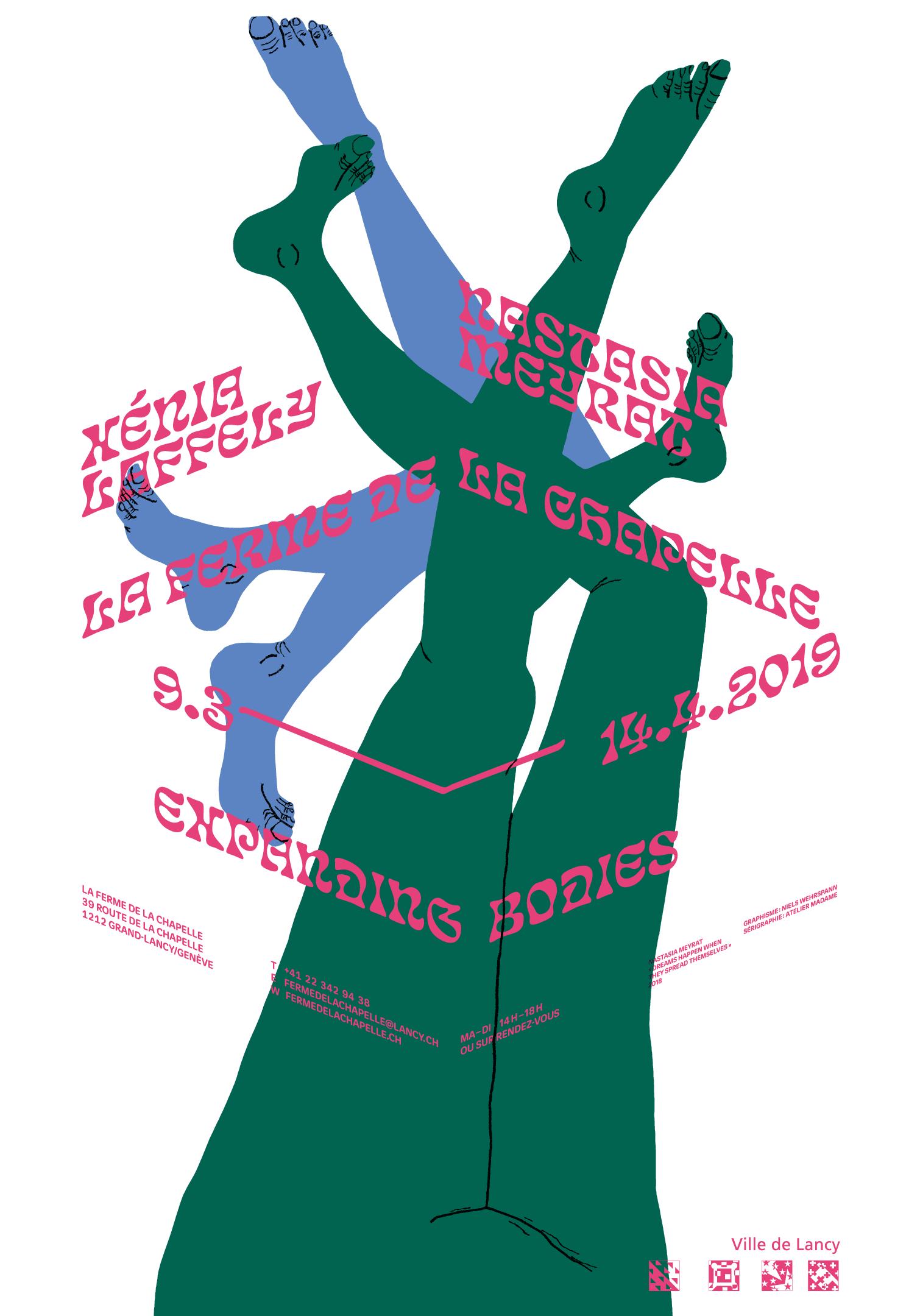 Affiche pour la Ferme de la Chapelle avec une œuvre de Nasatsia Meyrat