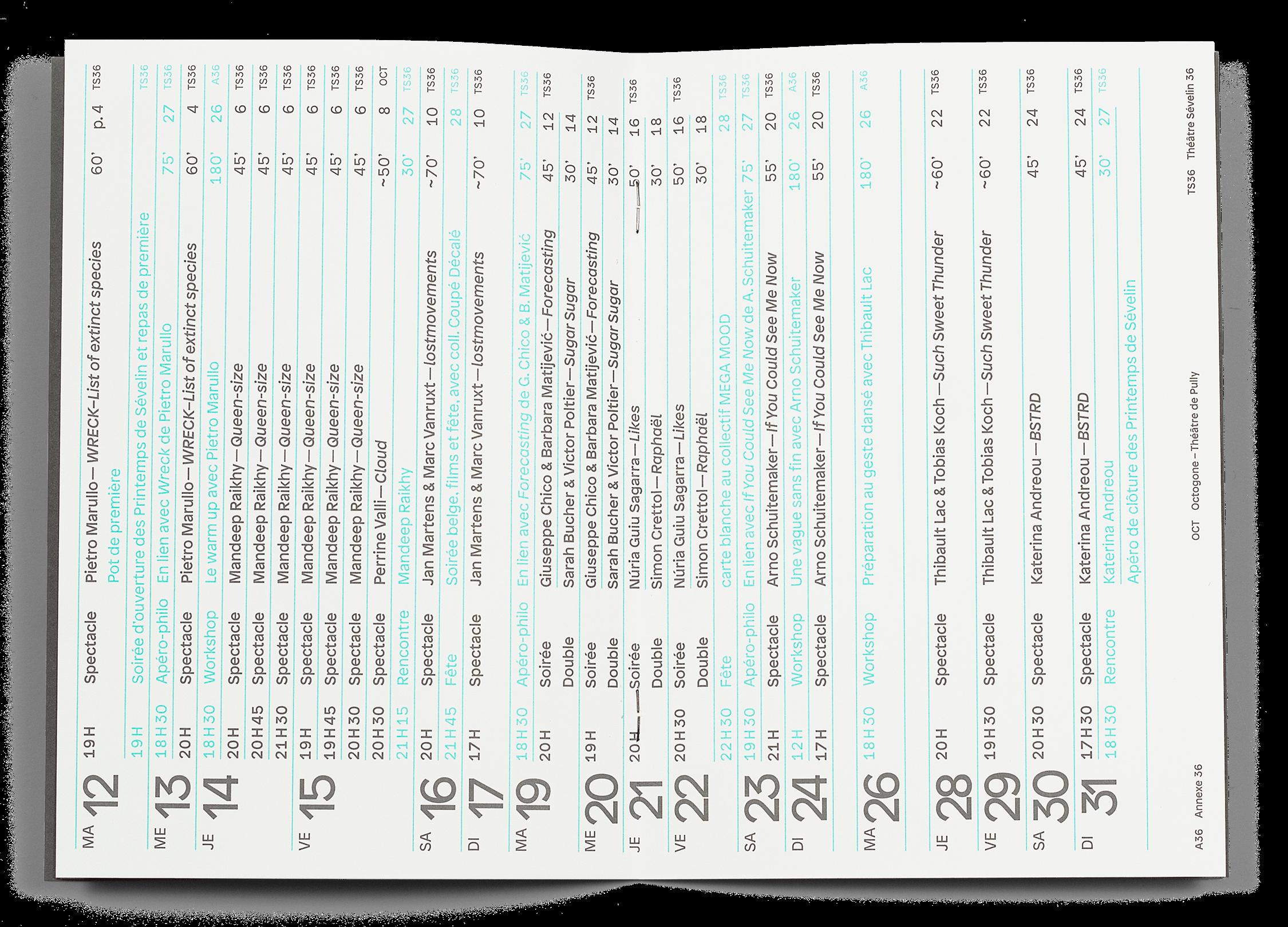 Double page du programme des Printemps de Sévelin 2019
