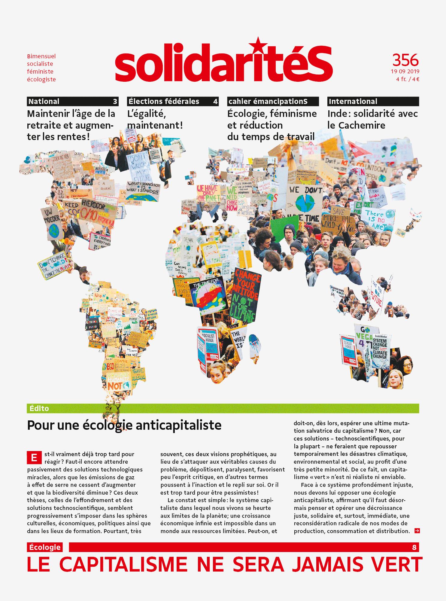 Collage de photos de manifestations pour le climat représentant une carte du monde