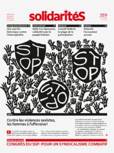 Dessin des boucliers et de mains arborant le mot 'stop'