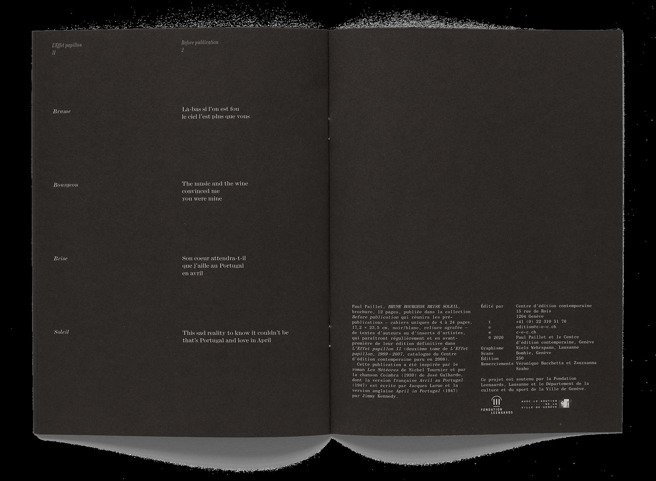 Double page de la brochure de l'artiste Paul Paillet
