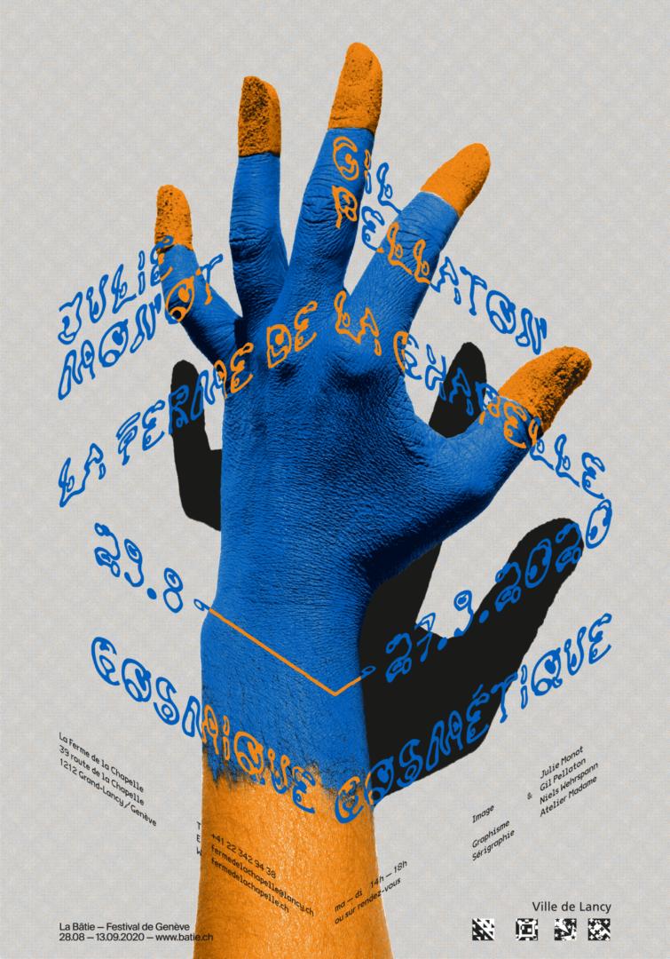 Main peinte sur l'affiche de l'exposition de Julie Monot et Gil Pellaton