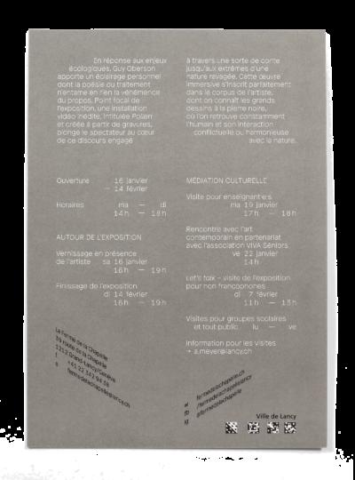 Verso du carton d'invitation de l'exposition Guy Oberson