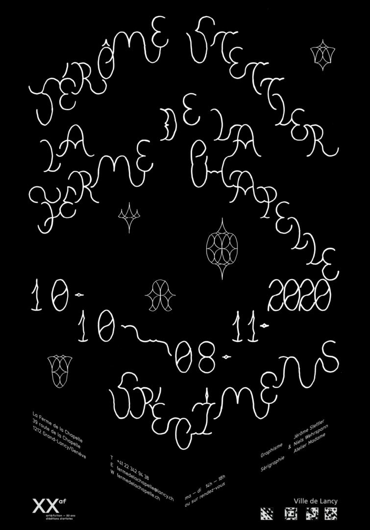 Lettrage modulaire sur l'affiche de l'exposition de Jérôme Stettler