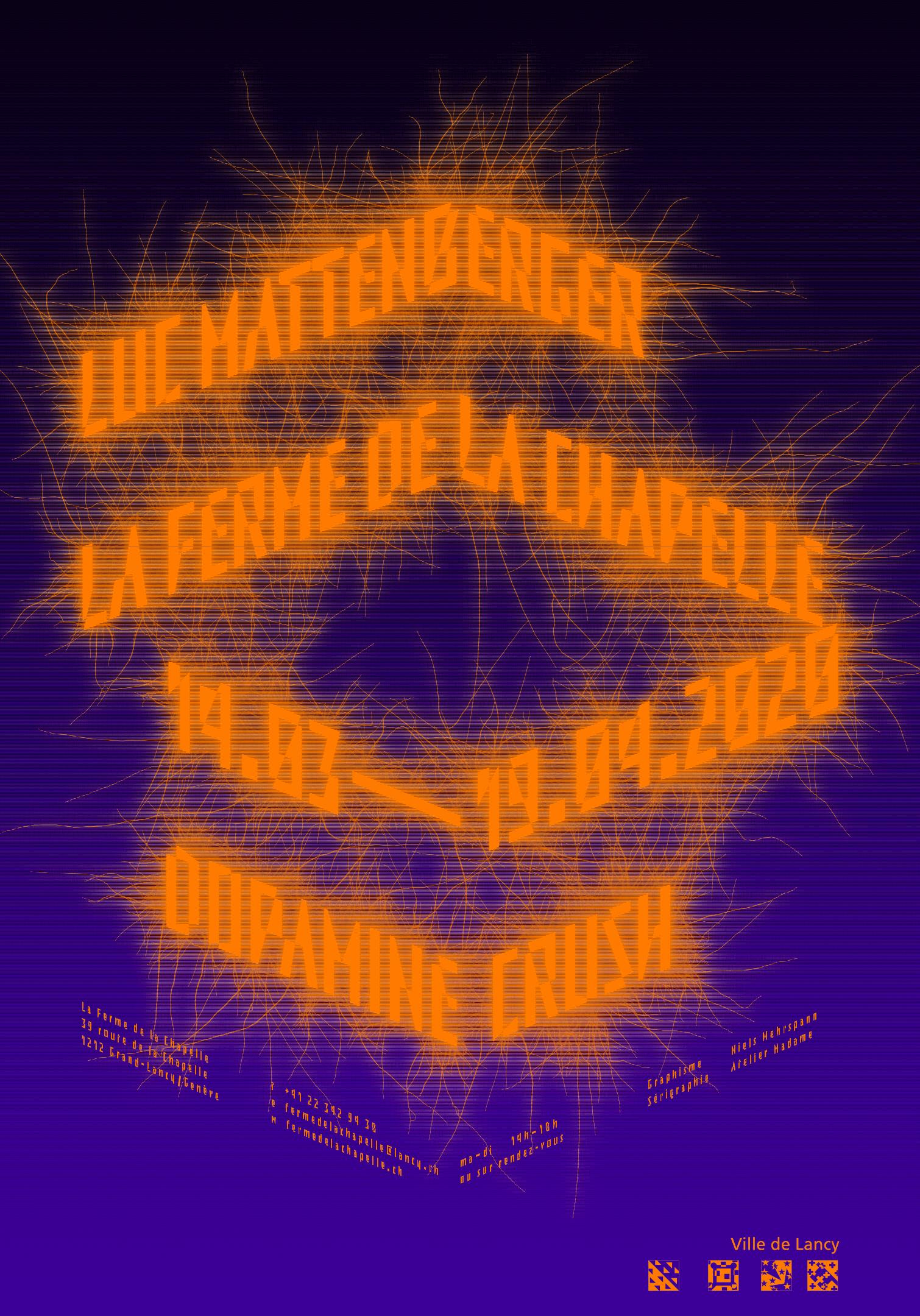 Lettres fluo et excroissances sur l'affiche de l'exposition de Luc Mattenberger