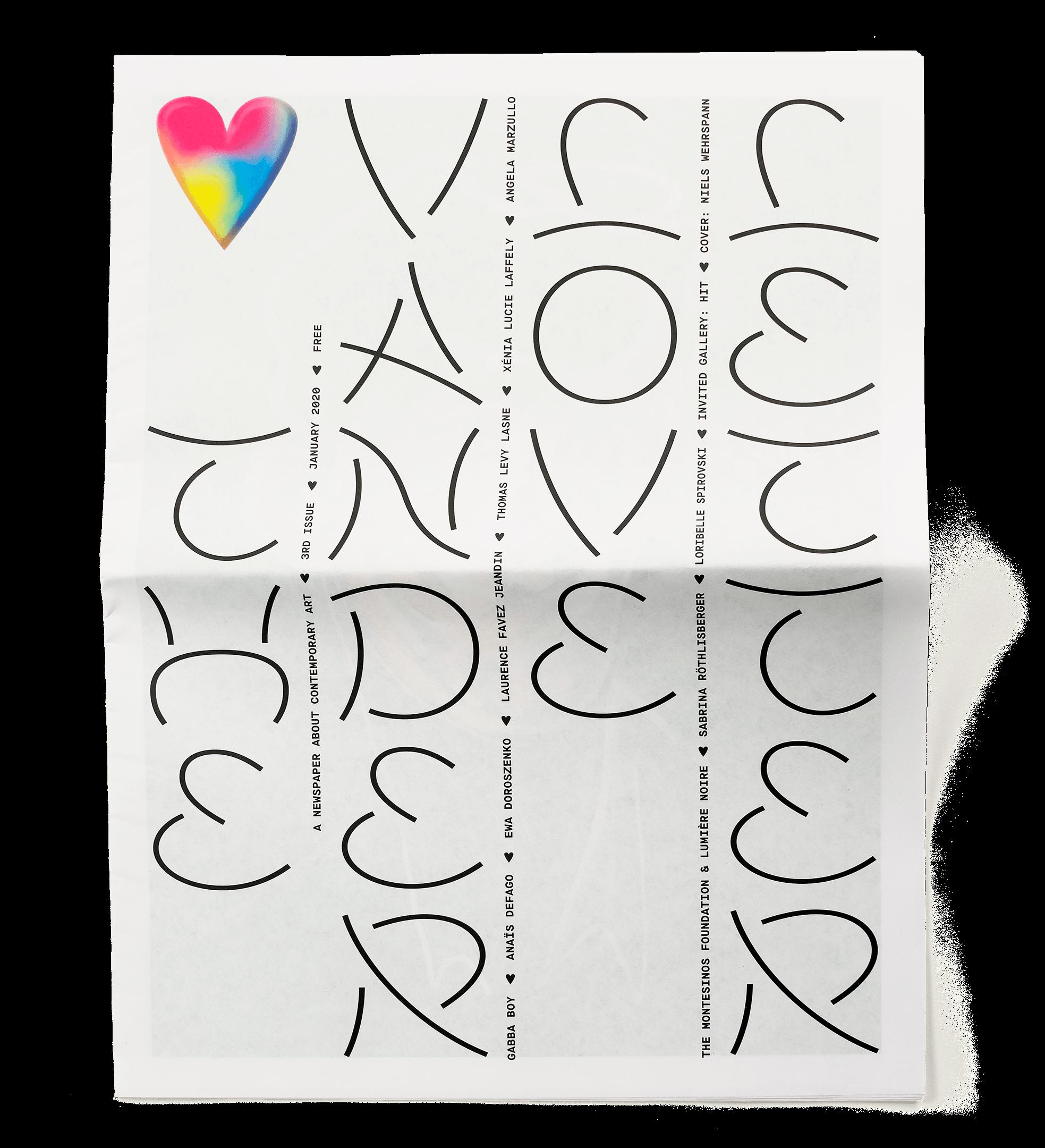 Lettrage sur la couverture du numéro 4 du journal Vanderlove Letter