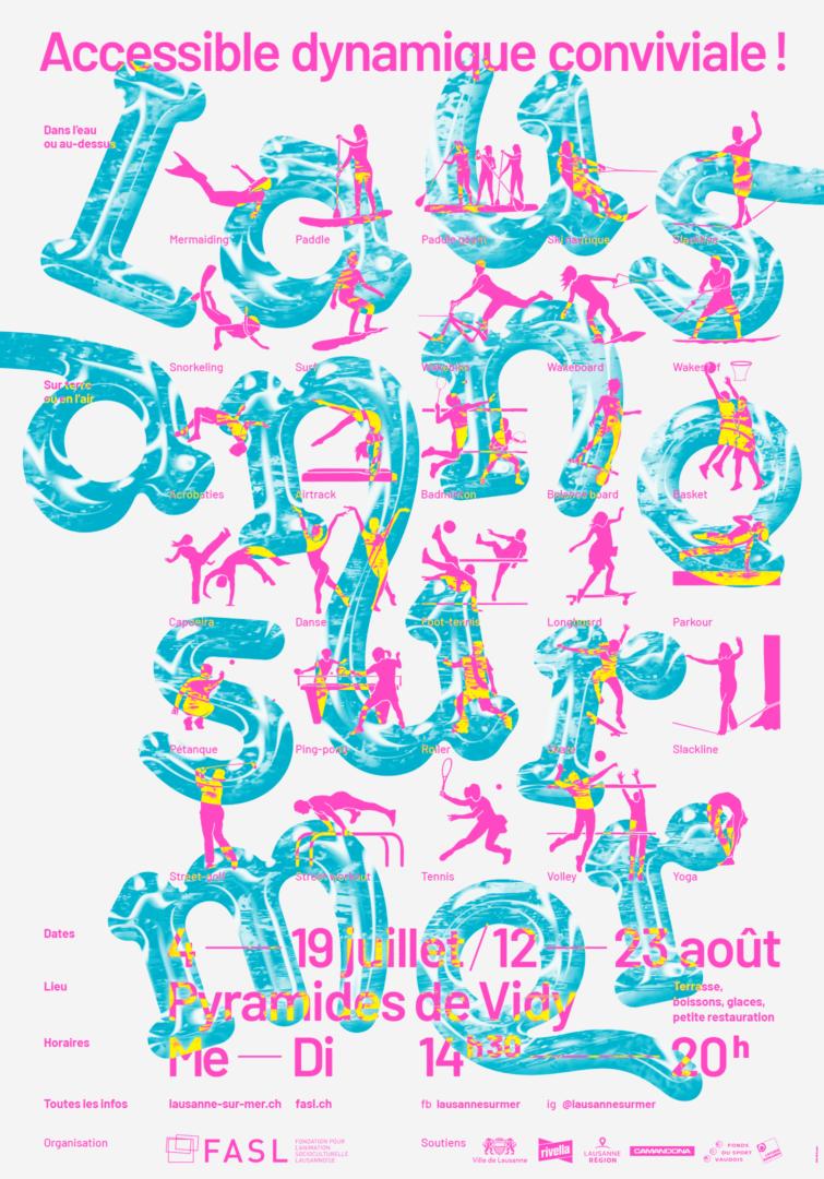 Pictogrammes des activités de Lausanne sur mer sur l'affiche