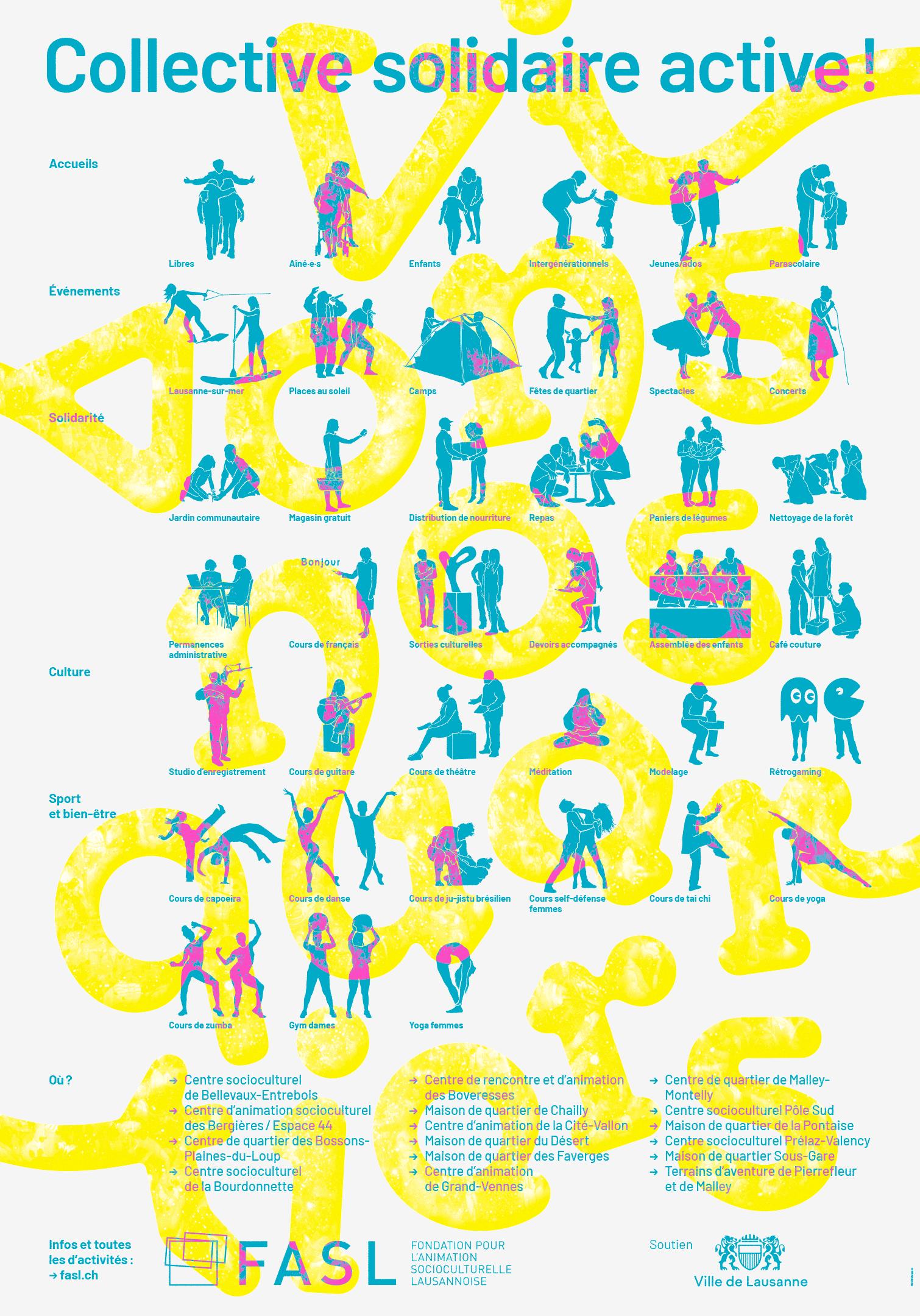 Pictogrammes des activités des maisons de quartier de Lausanne