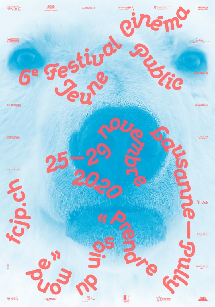 Visage d'un ours blanc sur l'affiche du Festival Cinéma Jeune Public