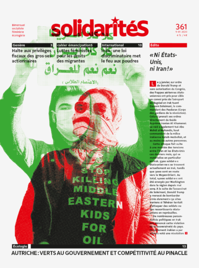 Manifestants irakiens sur la couverture du bimensuel solidaritéS