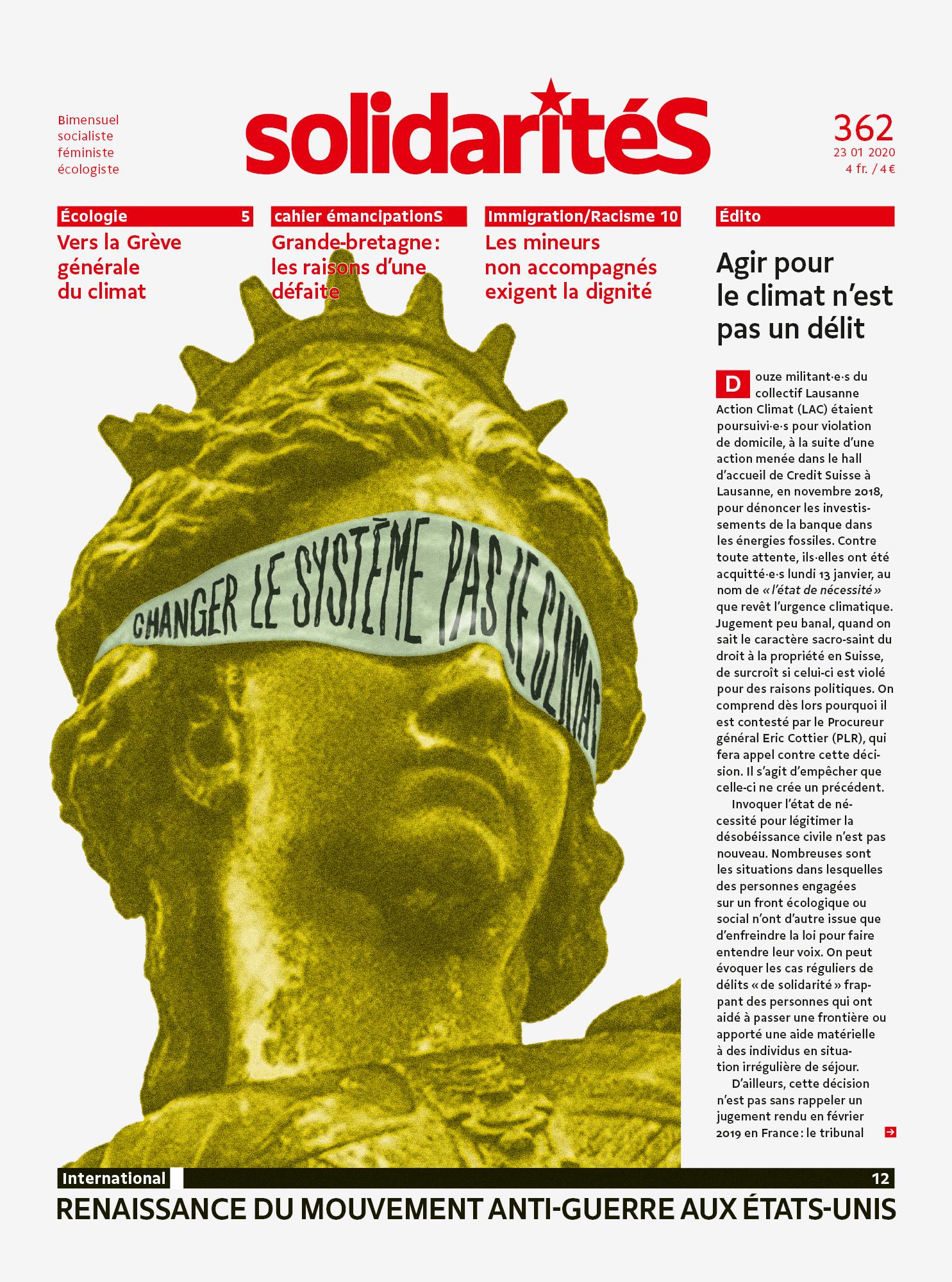 Illustration de la justice climatique sur la couverture du bimensuel solidaritéS