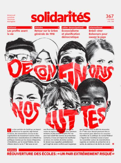 """Personnes diverses portant des masques avec le slogan """"Déconfinons nos luttes"""""""